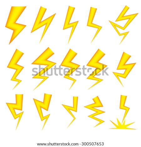 Lightning bolt vector icon set in gradient mesh color. isolated object on white background