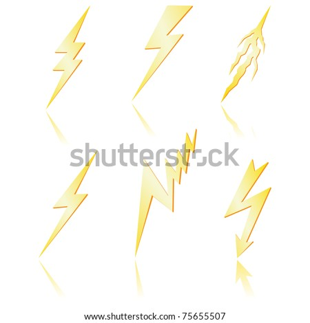 Lightning bolt  with reflection. Vector - stock vector