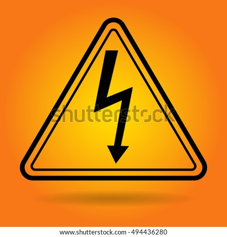 Lightning Electricity Safety Sign Icon Flat Vector Illustration