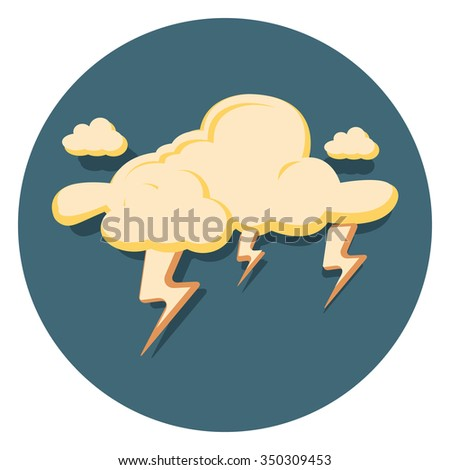 lightning flat icon in circle