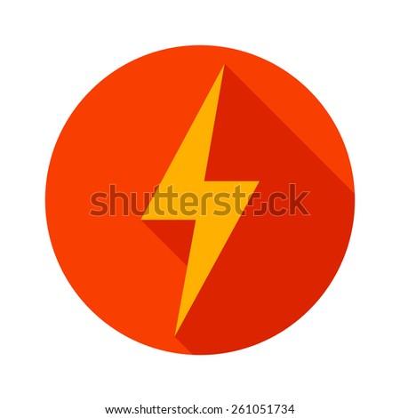 Lightning icon flat design long shadows vector illustration. - stock vector