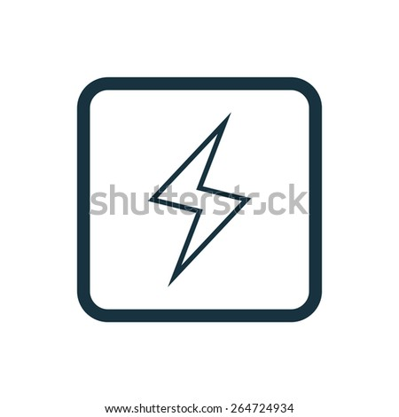 lightning icon Rounded squares button, on white background  - stock vector