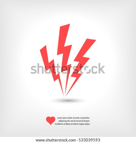 lightning icon, vector illustration. Flat design style