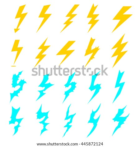 lightning icons set. collection elements of lightning yellow and blue. electric lightning various shapes