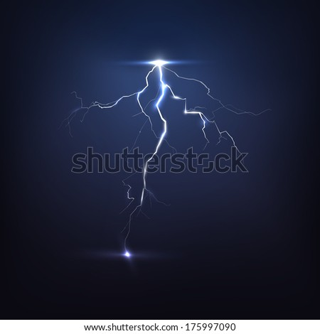 Lightning on black, vector  - stock vector