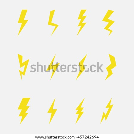 Lightning or thunder storm vector set isolated on a light background. Yellow icons lightning strike or thunder bolt in a flat style.