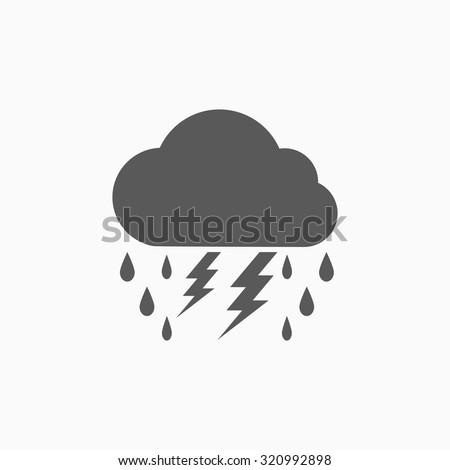lightning rain cloud icon - stock vector
