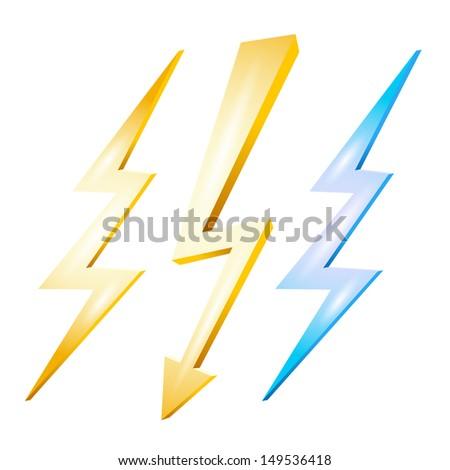 Lightning set isolated on white background - stock vector