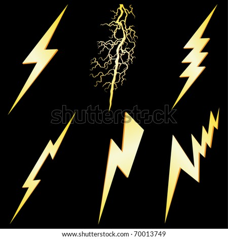 Lightning sign set isolated on black VECTOR - stock vector