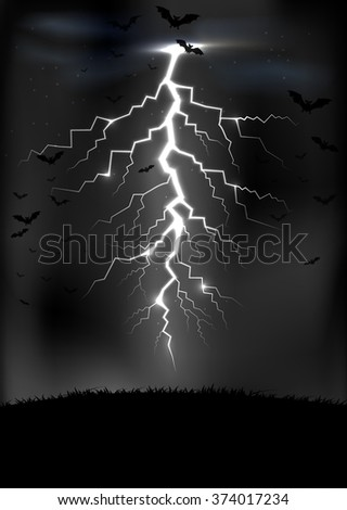 Lightning storm background with a bats.Vector