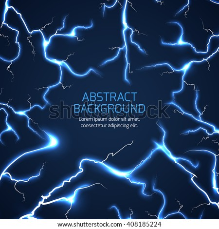 Lightning vector background. Bright lightning electricity pattern, electrician charge lightning vector illustration with text - stock vector