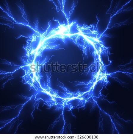 Lightning vector round text frame background. Eps10.