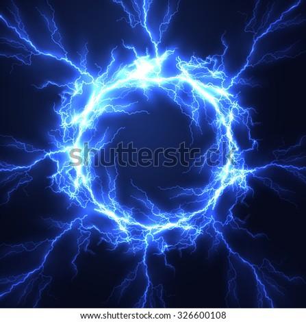 Lightning vector round text frame background. Eps10. - stock vector