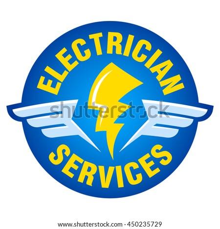 lightning wings words electrician services vector stock vector hd rh shutterstock com electrician logo ball caps electrician logo ball caps