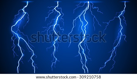 Lightnings set - stock vector
