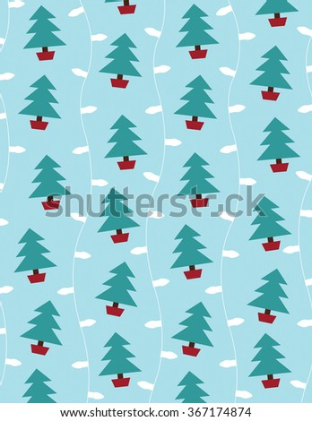 Lights and christmas trees over solid blue background - stock vector
