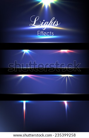 Lights effects. Creative concept Vector set of glow light effect stars bursts with sparkles isolated on blue background. For illustration template art design, magic flash energy ray. - stock vector