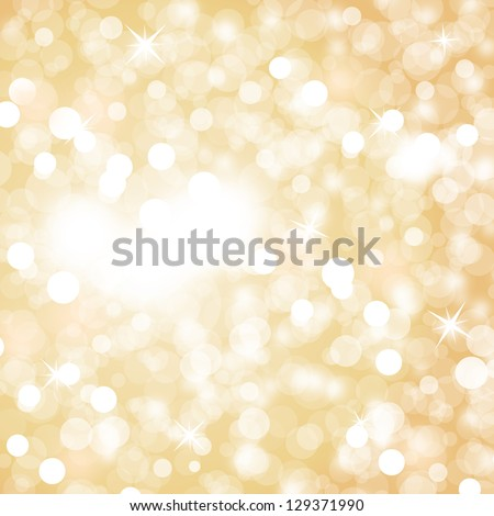 Lights On Beige Background - Vector Illustration, Graphic Design Useful For Your Design. Bright Beige Abstract Christmas Background With White Snowflakes
