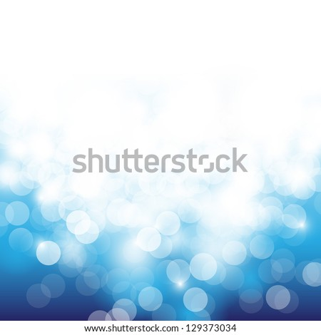Lights On Blue Background - Vector Illustration, Graphic Design Useful For Your Design. Bright Blue Abstract Christmas Background With White Snowflakes - stock vector