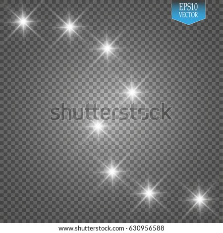 Lights on transparent background. Magic concept. Vector white glitter wave abstract illustration. White star dust trail sparkling particles isolated on transparent background.