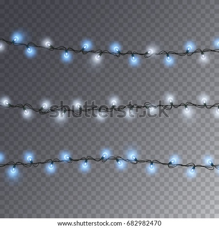 Lights String Elements Isolated On Transparent Background Glowing White And Blue Christmas Garlands Bulbs