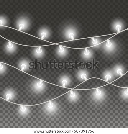 Lights String Elements Isolated On Transparent Background Glowing White Christmas Garlands Bulbs Effect For