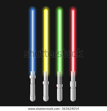 Lights sword set color. Vector illustration - stock vector