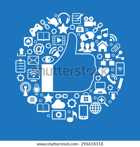 Like an icon surrounded Social media icons. White icons on blue background - stock vector