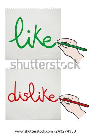 Like and dislike card - stock vector