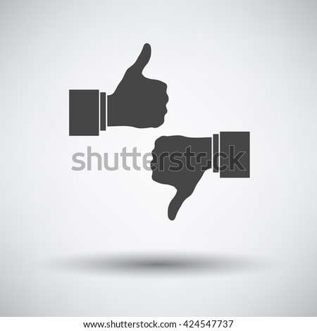 Like and dislike icon on gray background with round shadow. Vector illustration.