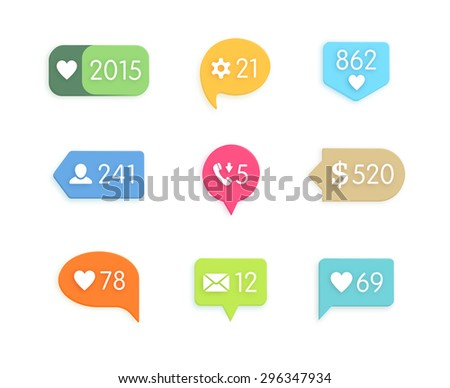 Like and information button icon with counter. Network and communication, web and internet, social design application. Vector illustration - stock vector