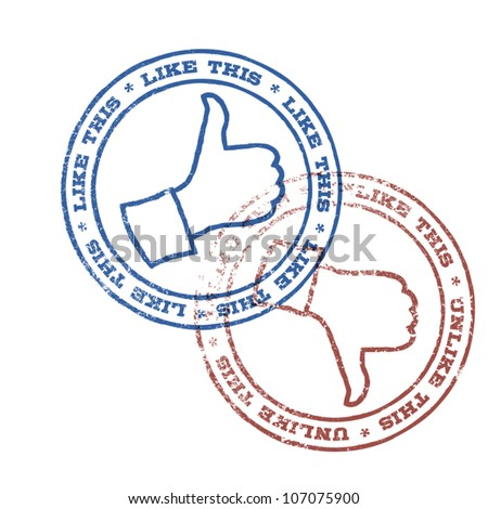 Like and unlike stamps. Vector, EPS10 - stock vector