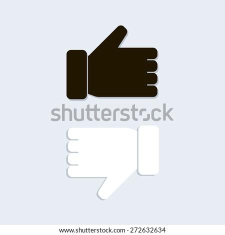 Like and unlike symbol. Vector illustration. Black, White. - stock vector