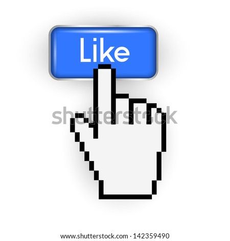 Like button and hand cursor. Vector EPS10 - stock vector