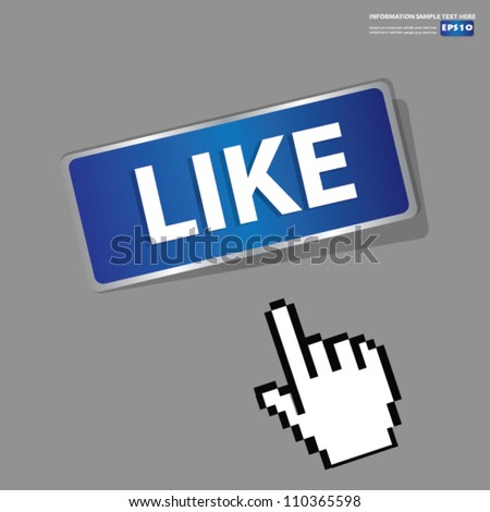 Like Button,sign with hand cursor,Vector - stock vector