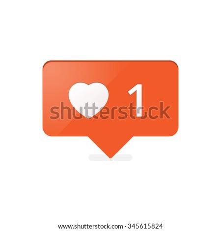 Like Counter Notification Icon orange color. vector stock. - stock vector