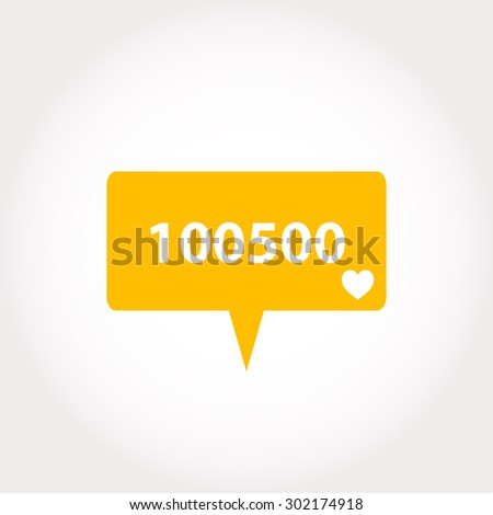 Like Counter Notification Icon, vector modern like, follower, comment icons  - stock vector