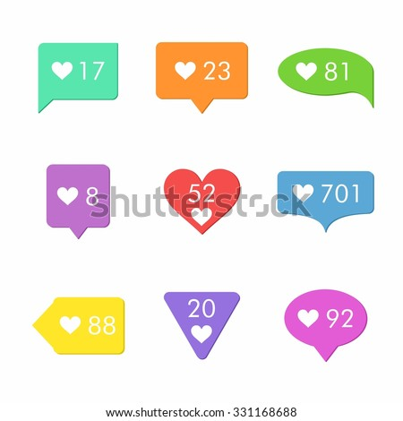 Like Counter Notification Icons Set. Flat Desing Style. - stock vector