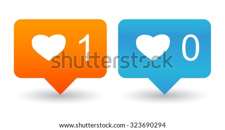 Like Counter Notification Icons set isolated on a white - stock vector