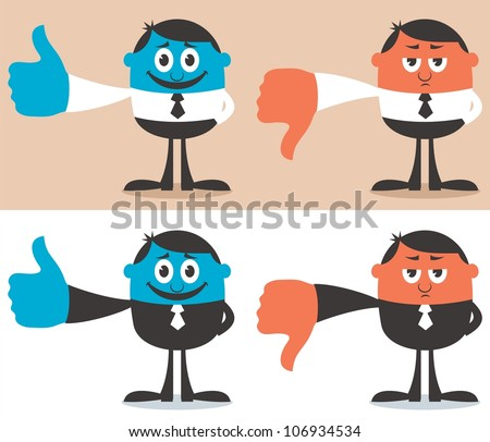 Like & Dislike: Cartoon character with his thumb up and down. No transparency and gradients used. - stock vector