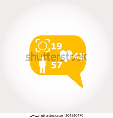 Like, follower, comment icons. Vector illustration. - stock vector