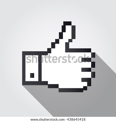 Like hand cursor vector illustration, cast shadow. White background.