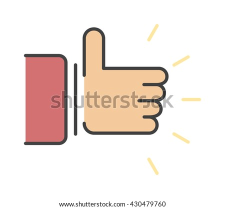 Like hand finger up sign thumb icon symbol success community line art vector. Finger up like hand icon and approve like hand icon. Good concept like hand communication networking super gesture. - stock vector