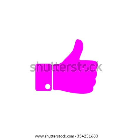 LIKE - hand. Pink flat icon. Simple vector illustration pictogram on white background - stock vector