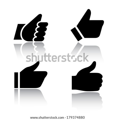 Like, icons with reflection, set 1. Vector illustrations, set black silhouettes isolated on white background - stock vector