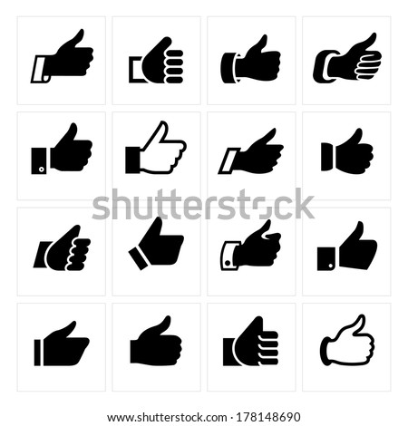 Like, set icons. Vector illustrations, set black silhouettes isolated on white background.