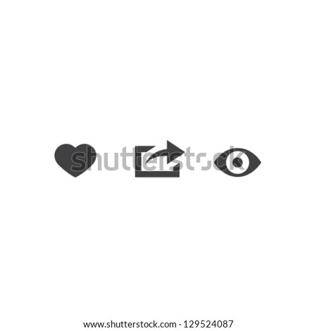 Like Share View Icon Vector Set