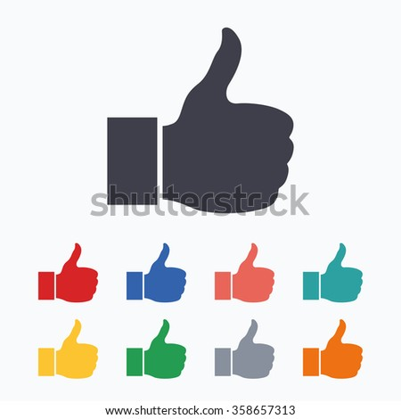 Like sign icon. Thumb up sign. Hand finger up symbol. Colored flat icons on white background.