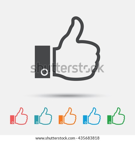 Like sign icon. Thumb up sign. Hand finger up symbol. Graphic element on white background. Colour clean flat like icons. Vector