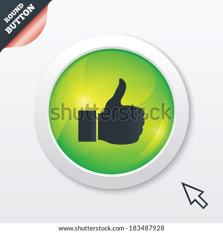 Like sign icon. Thumb up sign. Hand finger up symbol. Green shiny button. Modern UI website button with mouse cursor pointer. Vector - stock vector